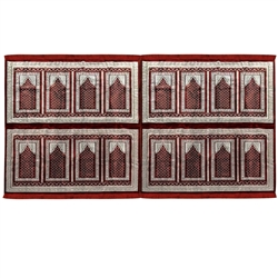 Sixteen Person Red and White Greek Key and Diamond Design Turkish Family Prayer Rug