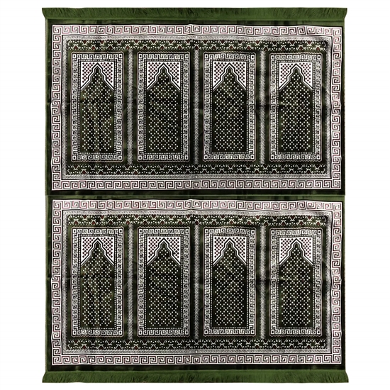 Eight Person Green Greek Key Design Prayer Rug