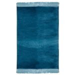 Muslim Prayer Rug 3.6' x 2.3' Plain Blue Tassels