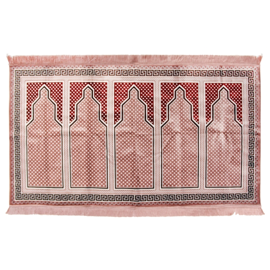 Five Person Turkish Pink Fancy Family Prayer Rug Sajada Sajda Mat Greek Border