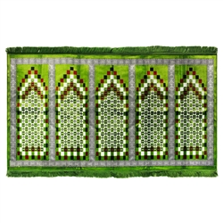 Five Person Turkish Green Square Family Prayer Rug Sajada Sajda Mat Greek Border