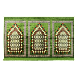 Three Person Turkish Green Family Prayer Rug Sajada Sajda Mat Greek Border