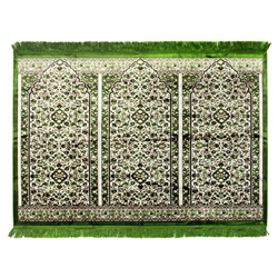 Three Person Green Fancy Premium Turkish Prayer Rug Sajada Sajda Mat Floral