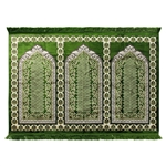 Three Person Green Fancy Premium Turkish Prayer Rug Sajada Sajda Mat Lotus