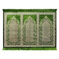 Three Person Green Fancy Premium Turkish Prayer Rug Sajada Sajda Mat Vine Border