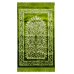 Green Floral Jacquard Border Archway Authentic Turkish Prayer Rug Sajada Mat