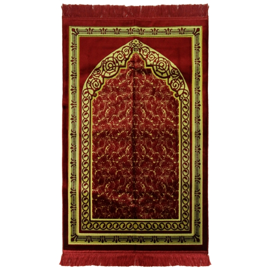Red Gold Floral Arch Extra Wide Authentic Turkish Prayer Rug Sajada Mat Janamaz