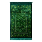 Green Extra Soft Floral Arch Authentic Turkish Prayer Rug Sajada Mat Janamaz
