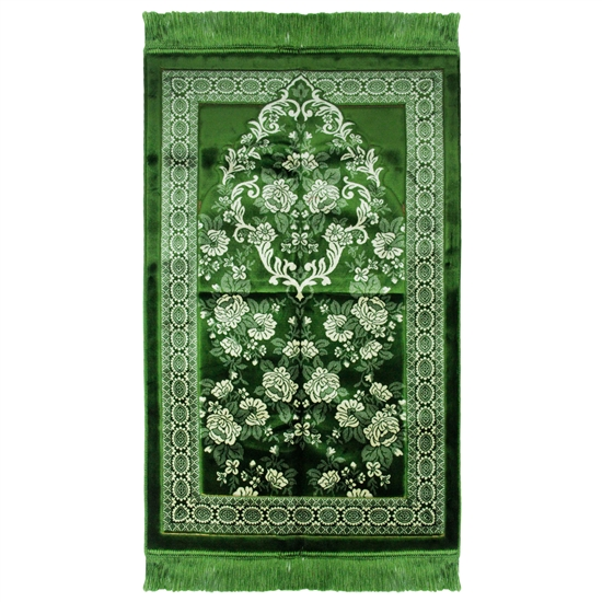 Green Soft Blossom Arch Authentic Turkish Prayer Rug Sajada Mat Janamaz