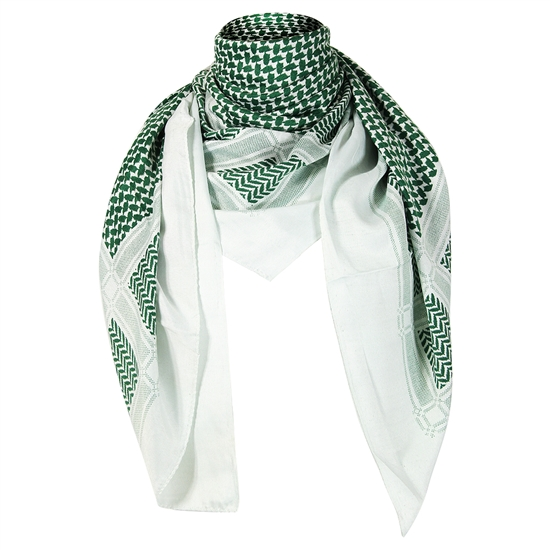 White and Green Traditional Shemagh Scarf