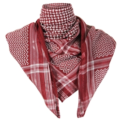 Burgundy Premium Shemagh Scarf with Silver Trim