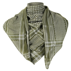 Savannah Green Premium Shemagh Scarf with Silver Trim