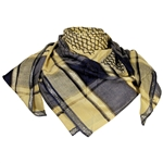 Tan Blue Shemagh Fashion Desert Scarf Arabic Keffiyeh Wrap Silver Trim
