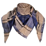 Light Brown Blue Shemagh Fashion Desert Scarf Arabic Keffiyeh Silver Trim