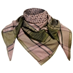 Light Brown Green Shemagh Desert Scarf Keffiyeh Diamond Silver Trim