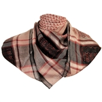 Light Brown Red Shemagh Arab Desert Scarf Keffiyeh Chevron Silver Trim