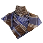 Brown Blue Silver Shemagh Arab Desert Scarf Keffiyeh Wrap Diamond Design