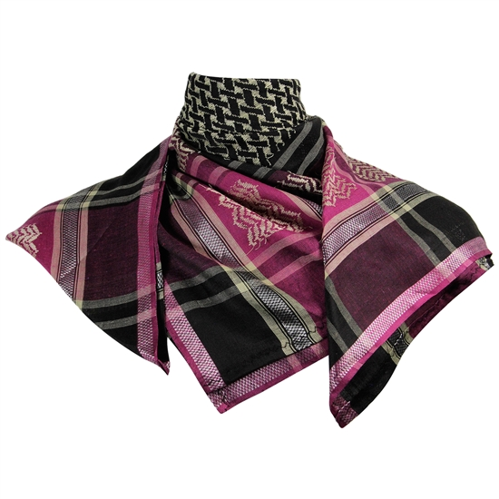 Black Purple Shemagh Arab Desert Scarf Keffiyeh Wrap Mesh Design