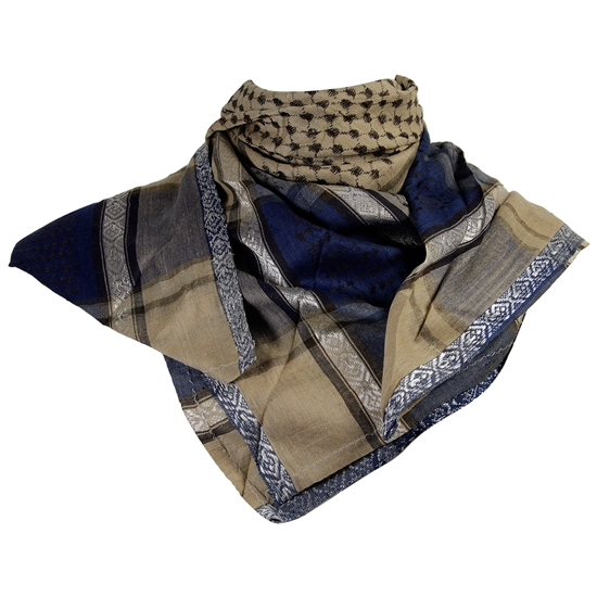 Tan Brown Blue Silver Shemagh Arab Desert Scarf Keffiyeh Circle Design