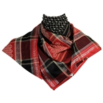 Black Red Shemagh Arab Desert Scarf Keffiyeh Wrap Diamond Design Silver Trim
