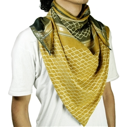 Gold Brown Shemagh Arab Desert Scarf Keffiyeh Wrap Mesh Design