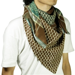 Brown Green Shemagh Arab Desert Scarf Keffiyeh Wrap Mesh Design