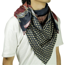 Navy Blue Red Shemagh Arab Desert Scarf Keffiyeh Wrap Mesh Design