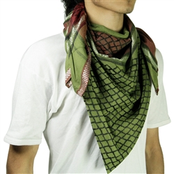 Green Red Shemagh Arab Desert Scarf Keffiyeh Wrap Mesh Design