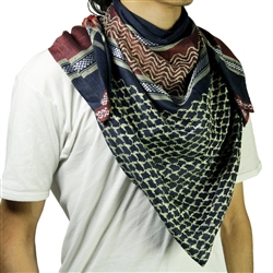 Dark Blue Red Shemagh Arab Desert Scarf Keffiyeh Wrap Mesh Design