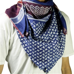 Blue and RedShemagh Arab Desert Scarf Keffiyeh Wrap White Mesh Design