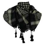 Black and Beige Shemagh Tactical Desert Scarf Keffiyeh with Tassles
