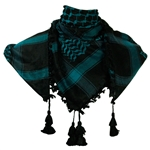 Black and Teal Shemagh Tactical Desert Scarf Keffiyeh with Tassles