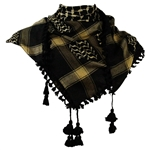 Black and Yellow Shemagh Tactical Desert Scarf Keffiyeh with Tassles