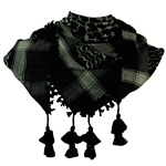 Black and Pine Green Shemagh Tactical Desert Scarf Keffiyeh with Tassles