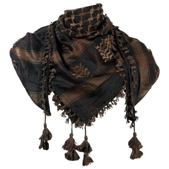 Black and Chocolate Brown Shemagh Tactical Desert Scarf Keffiyeh with Tassles