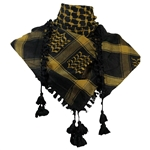 Black and Gold Shemagh Tactical Desert Scarf Keffiyeh with Tassles