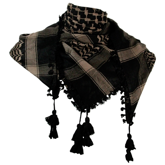 Black and Warm Gray Shemagh Tactical Desert Scarf Keffiyeh with Tassles