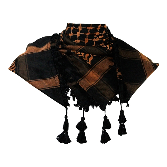 Black and Brown Shemagh Tactical Desert Scarf Keffiyeh with Tassles