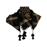 Black and Tan Shemagh Tactical Desert Scarf Keffiyeh with Tassles