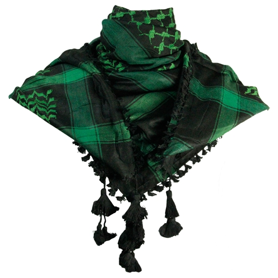 Black and Green Shemagh Tactical Desert Scarf Keffiyeh with Tassles