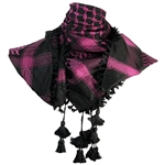 Black and Purple Shemagh Tactical Desert Scarf Keffiyeh with Tassles