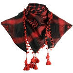 Black and Cherry Red Shemagh Tactical Desert Scarf Keffiyeh with Tassles