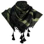 Black and Forest Green Shemagh Tactical Desert Scarf Keffiyeh with Tassles