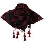 Black and Wine Red Shemagh Tactical Desert Scarf Keffiyeh with Tassles