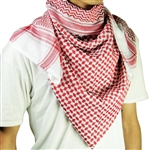 White and Red Shemagh Tactical Arabian Desert Scarf Keffiyeh