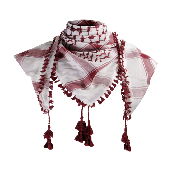 White and Wine Red Shemagh Tactical Desert Scarf Keffiyeh with Tassels