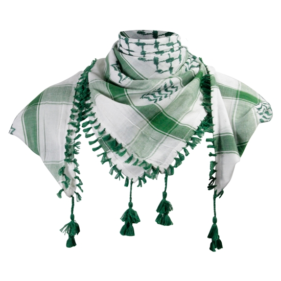 White and Green Shemagh Tactical Desert Scarf Keffiyeh with Tassels