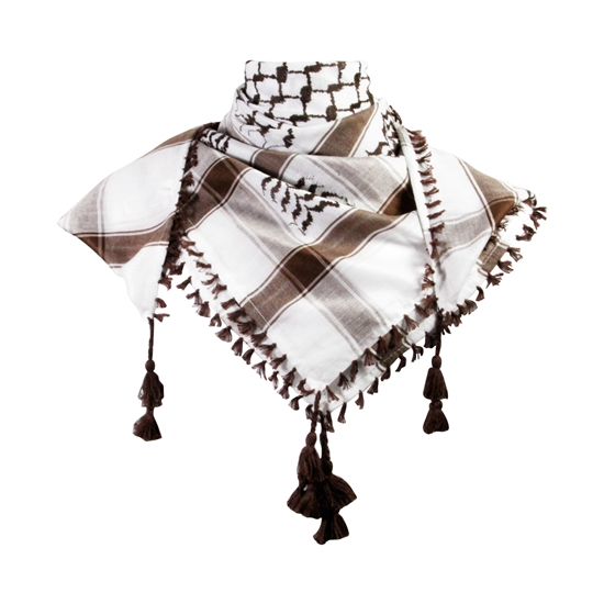 White and Dark Brown Shemagh Tactical Desert Scarf Keffiyeh with Tassels