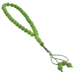 33 Count Islamic Neon Green and Silver Rosary Prayer Beads Tasbih