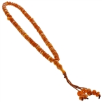 99 Count White and Orange Islamic Rosary Prayer Beads Tasbih